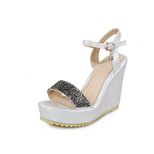 AgooLar Women's Assorted Color Pu High Heels Open Toe Buckle Sandals Silver y9bAaMMaoF