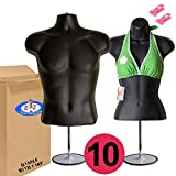 10-Pack Male Female Mannequin Torso, Dress Form Hollow Back Body Tshirt Display, w/Stand for Counter by EZ-Mannequins for Craft Shows, Photos or Design, Easy to Assemble and Store, S-M Sizes, Black