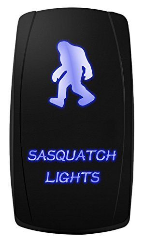 MICTUNING ACSSB Laser On-Off Rocker Switch with Jumper Wire, 5 Pin, 20 Amp, 12V, LED Lights, Sasquatch Light, Blue