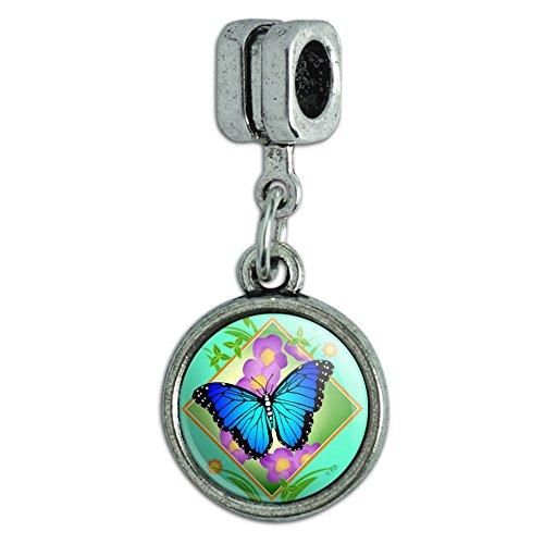 GRAPHICS & MORE Blue Butterfly Purple Flowers Italian European Style Bracelet Charm Bead