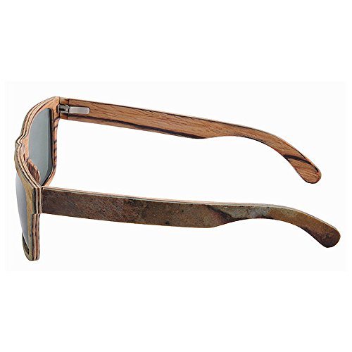 la pesca de alta de Lens Protección conducción hombres polarizadas los hecho Retro TAC y playa UV de a de de calidad Square gafas la Marrón sol de sol mano Col gafas de madera Shape libre de piedra al aire qR4CWp
