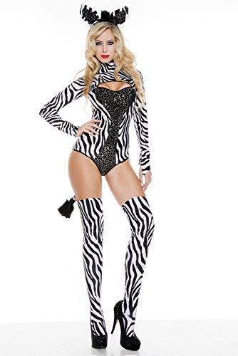 Music Legs Women's Z Is For Sexy Zebra, Black/White, Medium/Large]()