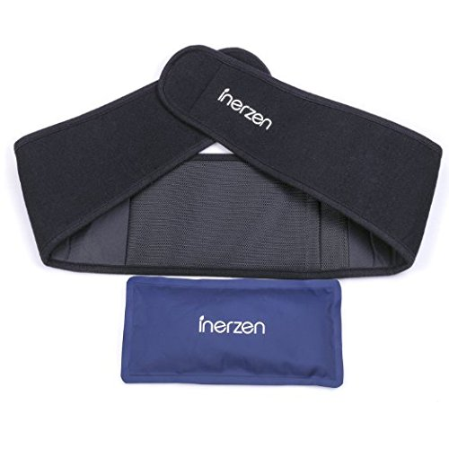 Inerzen Back and Waist Hot and Cold Gel Pad Therapy Wrap for Pain, Muscle, Stress Relief - Microwavable & Freezable - Support Cold Therapy