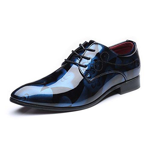 Bajos Simple Comodos Azul Pu Abstracta Oxfords Con Negocio Jujianfu Zapatos Formales Cordones Los Pintura zapatos De e Hombres Cuero Mocasines La Lisa Del Clásicos Superiores nqx4FTAwp