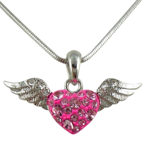 Crystal Heart With Guardian Angel Wings Silver Tone Necklace Fashion Jewelry Gift  Pink