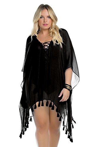 Becca-ETC-Womens-Plus-Size-Wanderer-Lace-Up-Front-Tunic-Swim-Cover-Up-0X-1X-Black