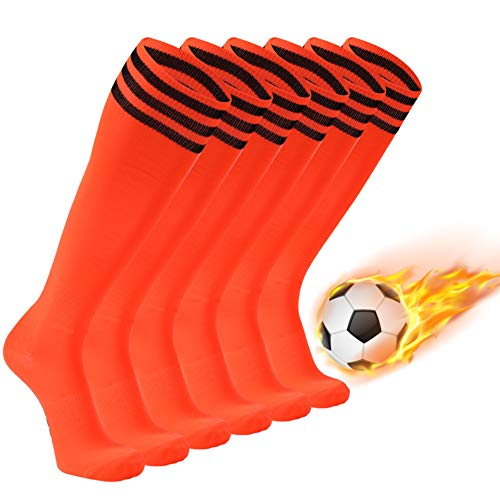 Soccer Socks, FOOTPLUS Unisex Knee High Breathable Arch Support Halloween Socks for Softball Baseball Volleyball Lacrosse All Team Sports, 6 Pairs Orange+Black Stripe, -