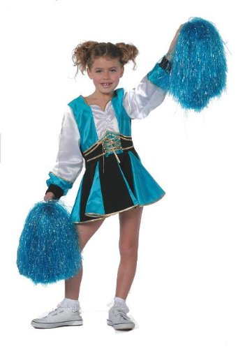 Cheerleader Childs Fancy Dress Costume & Pom Poms - S 128cms