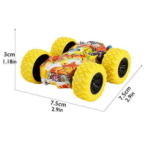 Rabung Inertia-Double Side Pull Back Cars Friction Powered Vehicles, Stunt Graffiti Car Off Road Model Toy Car Best Birthday Party Festival Gift for Kids (Yellow)