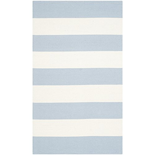Safavieh Montauk Collection MTK712K Handmade Flatweave Sky Blue and Ivory Cotton Area Rug (2'6