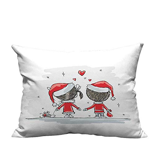 Pillowcase with Zipper Soul Mates Love Couples with Santa Costumes Family Romance Winter Night Picture Ultra Soft & Hypoallergenic (Double-Sided Printing) 11x19.5 inch]()