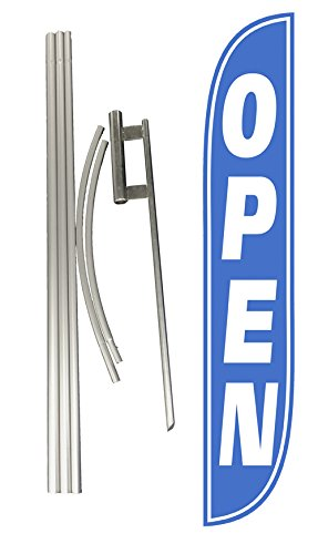 LookOurWay Open Feather Flag Complete Set with Pole & Ground Spike, Blue/White ()