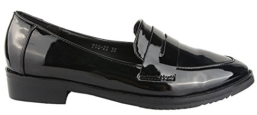 Idifu Womens Occasionnel Bout Pointu Slip Sur Oxfords Bas Haut Chunky Talons Bureau Chaussures Noir