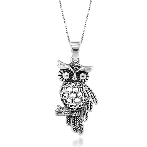 (925 Sterling Silver Heart Owl Pendant Necklace, 18