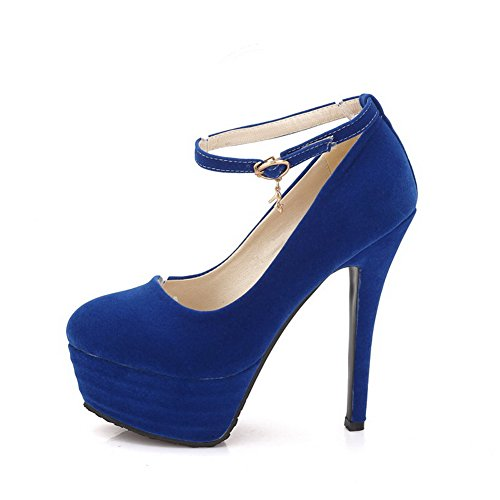 AllhqFashion Damen Mattglasbirne Schnalle Rund Zehe Stiletto Rein Pumps Schuhe Blau