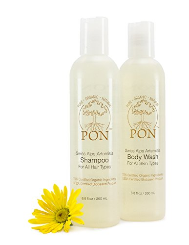 PON - Pure Organic Natural - Aloe Vera Based Shampoo and Body Wash Combo Pack, for All Hair Types and All Skin Types, Sulfate and Paraben-Free - 17.6 fl oz, Set of 2 (8.8 fl oz each)