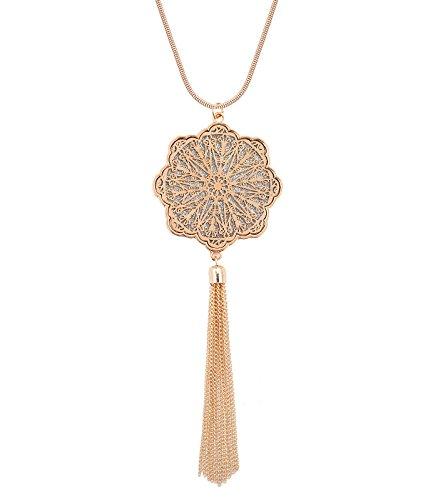 MOLOCH Long Necklaces for Woman Disk Circle Pendant Necklaces Tassel Fringe Y Necklace Set Statement Pendant (Floral-Shaped-Gold)