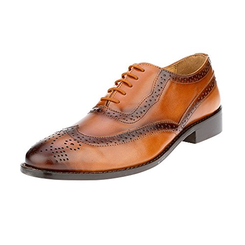(Liberty Men's Brogue Perforated/Burnished Toe Handmade Leather Wing-tip Lace up Oxford Dress Shoes Tan )