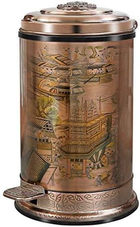 ゴミ袋 ゴミ箱用アクセサリ ハイエンドの高級リビングルームのバスルームのゴミ箱はレトロな家の収納樽をペダルでくむことができます キッチンゴミ箱 (Color : Brass, サイズ : 10L)