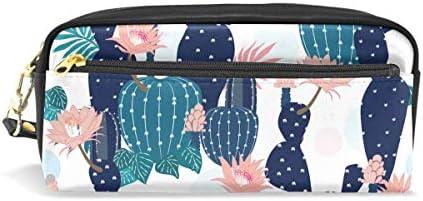 Estuche de piel para lápices con diseño de flores de cactus, con compartimentos para la escuela de niños y mujeres, bolsas de cosméticos pequeñas: Amazon.es: Oficina y papelería