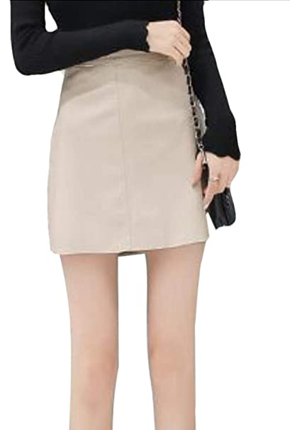 b5d0ccb29 Alion Women s Sexy Faux Leather Pencil Faux PU Leather Skirts High Waisted Mini  Skirts at Amazon Women s Clothing store