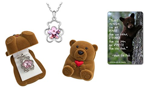 Pink Teddy Girl (Girl's Teddy Bear Pendant Necklace Jewelry with Pink Flower Crystal in Brown Velour Teddy Bear Box with Heart, Card with Inspirational Quote)
