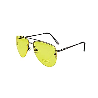 08a1a172b61 Night Driving Glasses HD Anti Glare Vision Polarised Yellow Lens Tinted  Unisex Tinted Pilot Night Vision
