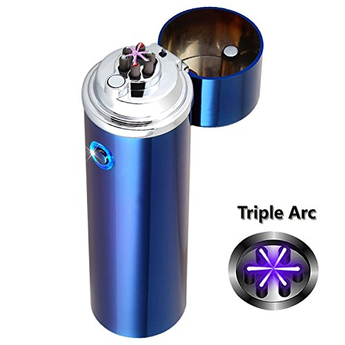 Electric Cross Lighters Triple Arc Cigar Lighter USB Rechargeable Flameless Windproof Splashproof Plasma Pulse Lighter Butane Free For Pipes Cigarettes BBQ Camping Cigars
