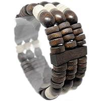 BeeShop(TM) M1050 Fashion 3 Rows Wooden Bead Chain Stretch Bangle Bracelet Jewelry