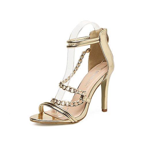 ZHZNVX Elegantes sandalias que eran enrejado con cadena de oro puro sexy y elegante con sandalias que fueron lattice Golden