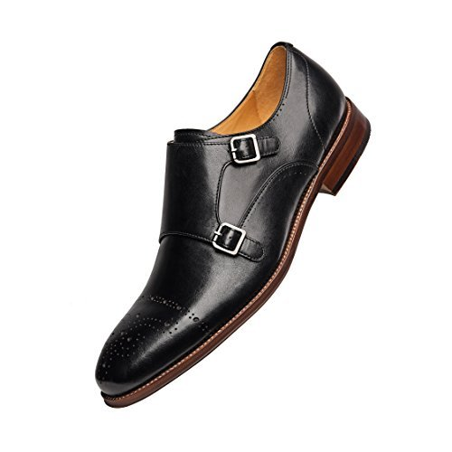 COMOTEK Men's Classic Double Monk Strap Full Grain Leather Shoes,2018 Design-Adroit Black US10