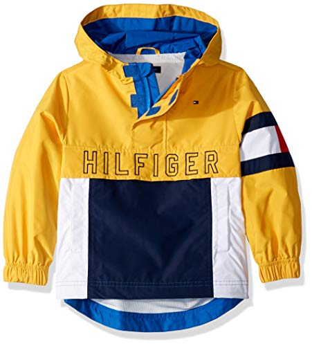 Tommy Hilfiger Boys' Adaptive Hooded Popover Jacket with Extended Zipper Pull, Lemon Chrome-Print S (Hilfiger Kids)