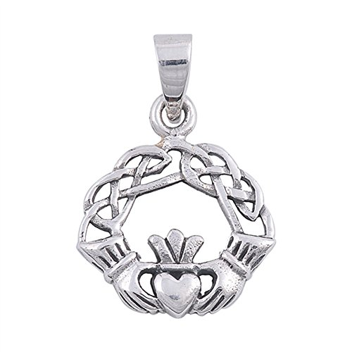 Knot Celtic Claddagh Pendant .925 Sterling Silver Weave Heart Braid Hand Charm