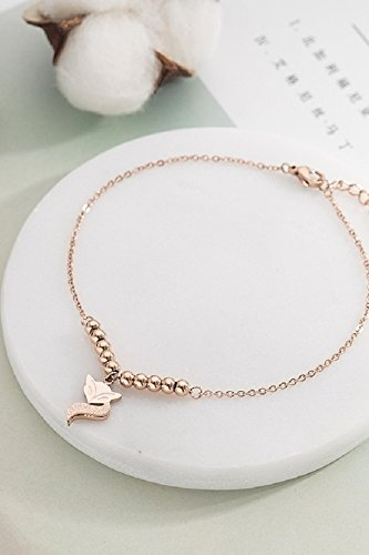 Korean Fashion Creative Rose Gold-Plated Anklets Frosted Fox Transfer Beads Tassel Steel Anklet Gift 52 Online Shopping Shop