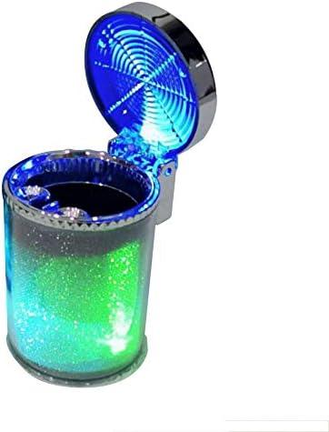 EUEMCH 車の青色LEDライトインジケータ灰皿ゴミ箱収納カップコンテナ灰皿無煙シリンダーゴミ箱ラック