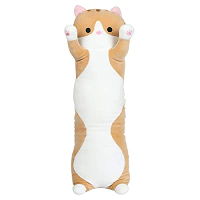 Toy Pillow Super Soft Lovely Kitten Cushion Plush Long Hugging Pillow for All Ages Stuffed Animal Birthday Gift Bedroom Decor,Yellow,110cm: Home & Kitchen