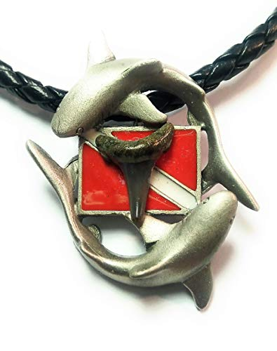 New Silver Pewter Diver's Down Flag Necklace with Prehistoric Megalodon Fossil Shark Tooth ()
