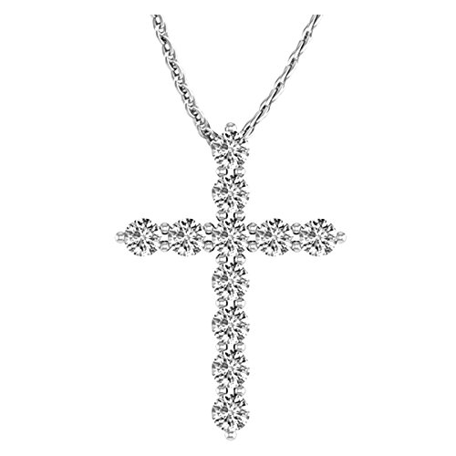 1 Carat Total Weight 14K White Gold Diamond Cross Value Collection ()