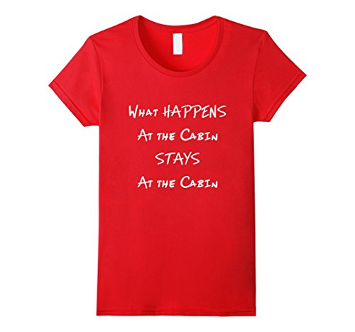 Log Cabin Red (Womens What Happens at the Cabin Stays There Log Wilderness Shirt  XL Red)