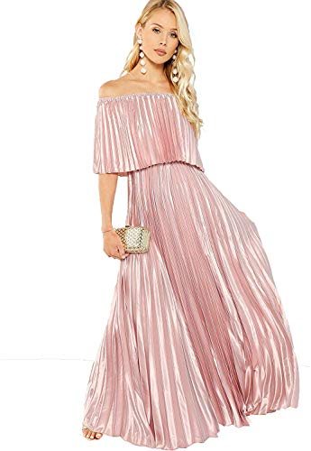 Milumia Women's Casual Off The Shoulder Layered Ruffle Party Bridesmaids Long Maxi Dress Light Pink Large