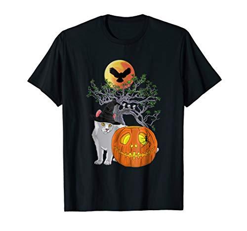 Women's Cat Pumpkin Funny Halloween Costume Gift T-shirt