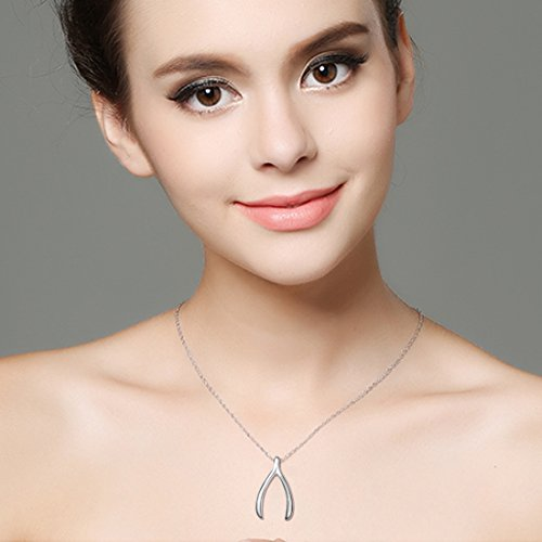 925 Sterling Silver Good Luck Charm Wishbone Pendant Necklace, Rolo Chain 18""