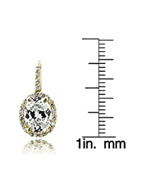 Gold Tone 4ct CZ Oval Halo Leverback Earrings