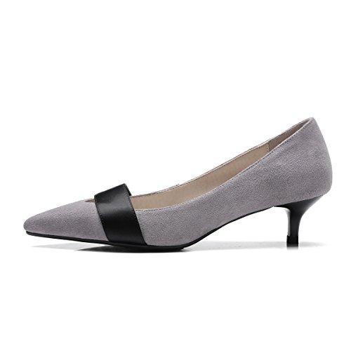 Avec Simple Sauvages Chaussures Moyens Fine Talons Femmes Peu A 36 Profonde Loisirs gris Bouche 5TBvZwxT
