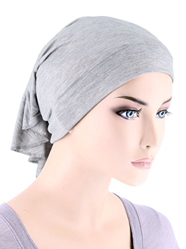 Tube Cap (Womens Ruffle Chemo Hat Beanie Scarf, Turban Head Wrap for Cancer Heather)