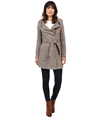 Calvin Klein Women's Tweed Belted Wool With Oversize Hood Collar Flax/Mushroom Medium Belted Tweed Coat