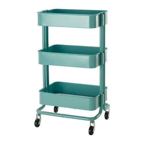 Rolling Organization Cart on Wheels Is Metal with 3 Deep Bins, Center Bin Is Adjustable, Color: Blue (Turquoise)