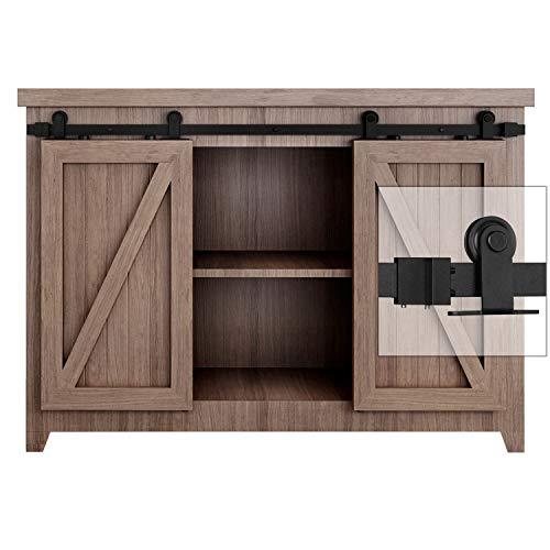 EaseLife 4 FT Super Mini Top Mount Double Door Sliding Barn Door Hardware Track Kit,Easy Install,Slide Smoothly Quietly,Apply for Cabinet Window TV Closet(No Cabinet)(4FT Track Double Door Kit)