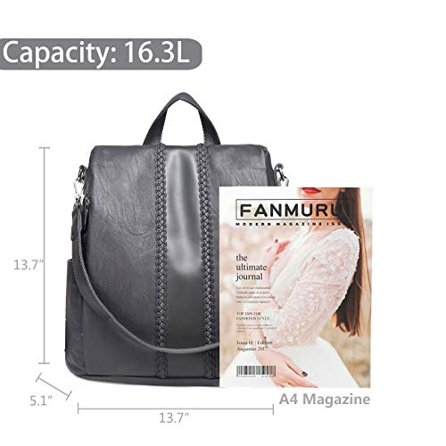 theft Purse for Faux VASCHY Anti Women Vintage Backpack with Ladies Leather Gray for Backpack Weave Fashion 8dwnqxxSC