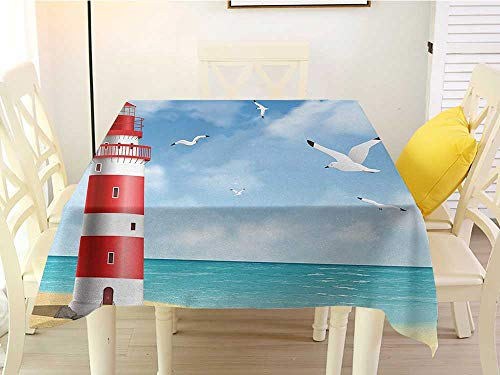 (L'sWOW Square Tablecloth Disposable Beach Realistic Illustration Lighthouse on Calm Seashore Flying Seagulls Ocean Scenery Vermilion Blue Waterproof 70 x 70 Inch)